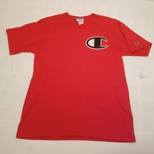Champion T Shirt Red Graphic Front Patch